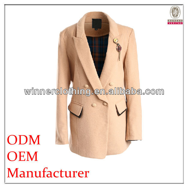 brand name new design elegant fit hot jacket with brooch embellishment