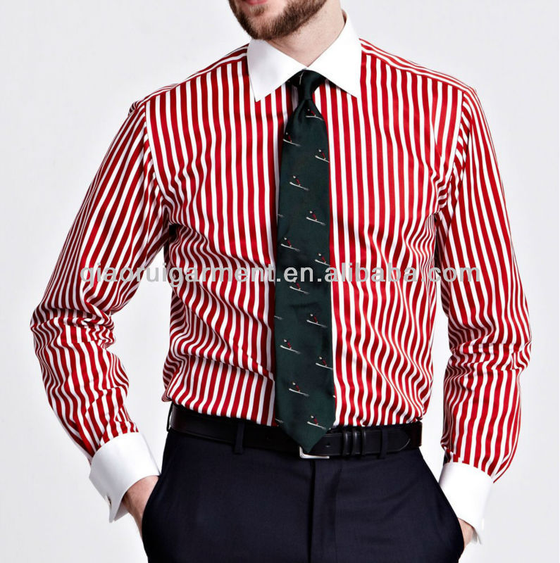 Men's Slim Fit Red Striped French Cuff Signature Shirt - Buy Men ...