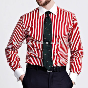 Men 39 S Slim Fit Red Striped French Cuff Signature Shirt