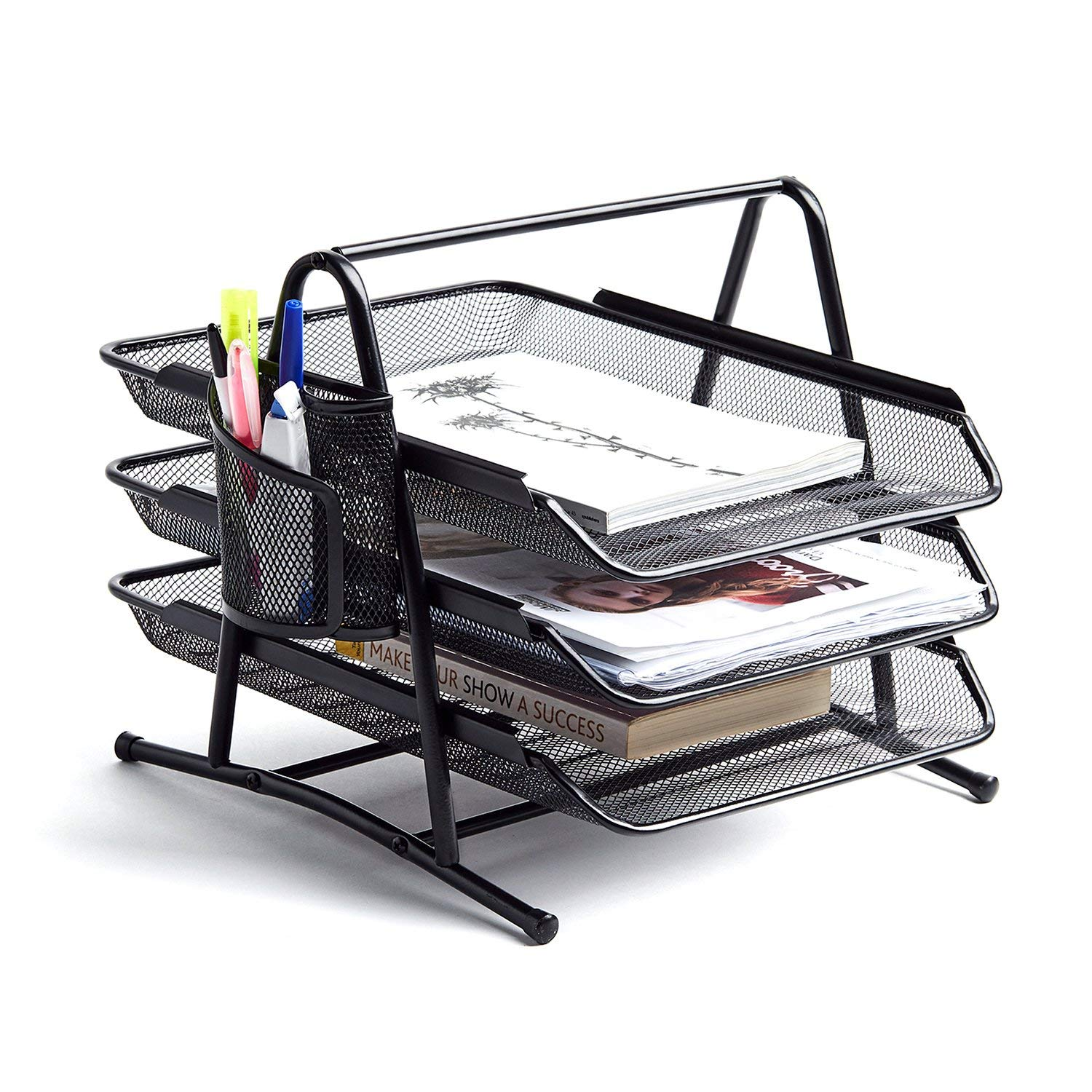 Get Quotations · NEATOPA Premium Letter Tray With Pen Holder | Mesh Metal  Document Tray | Stackable Desk Organizer
