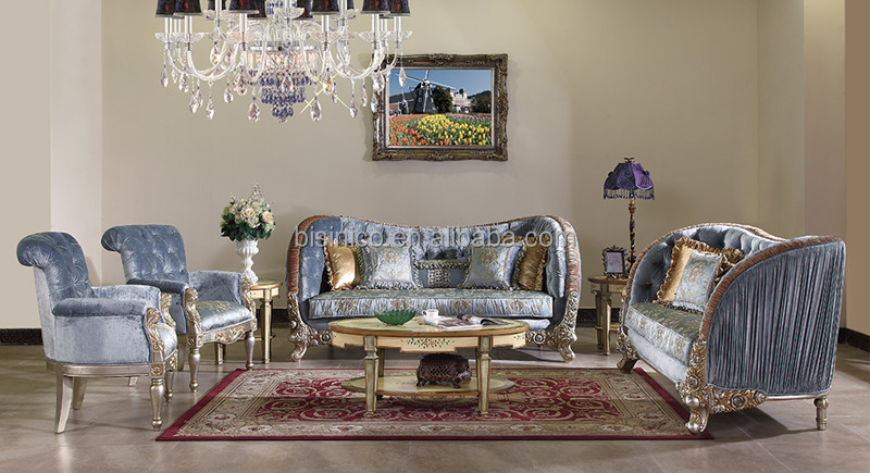 Palace Retro Living Room Sofa Set Unique Design Solid Wood Hand Carving Luxury