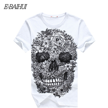 Free Shipping 2015 Fashion E-Baihui Skull Print Hip Hop Swag Tshirt Casual O-Neck Fitness T-shirt Skate Cool Man