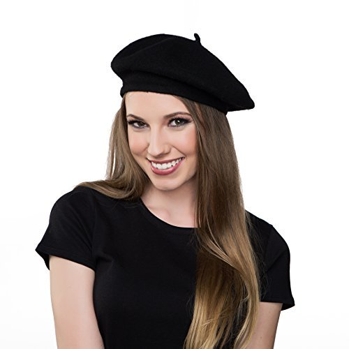 97e3546a9f7 Get Quotations · Kangaroo Wool Black Beret Hat - French Beret