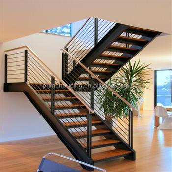 Intérieur En Acier Inoxydable Bois Escalier - Buy Escalier Droit En Acier  Inoxydable,Escalier Intérieur En Bois,Escalier En Verre Led Product on ...