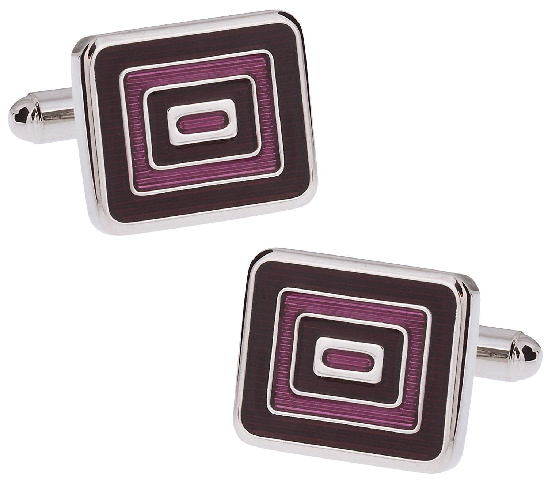 Cuff-Daddy Distinctive Black & Purple Enamel Cufflinks with Presentation Box