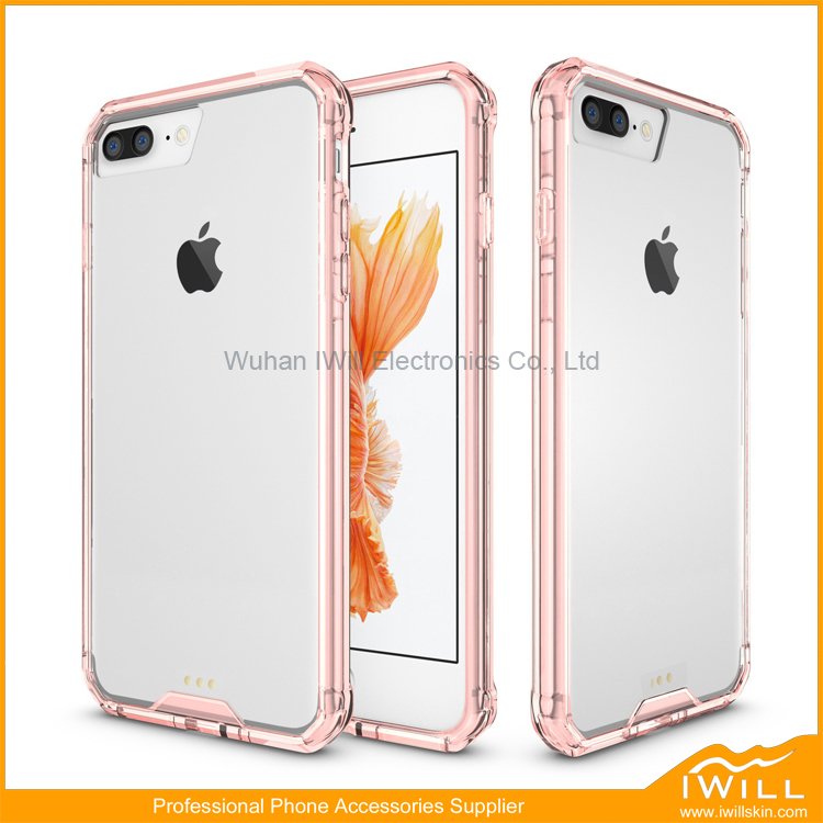 For iPhone7 Cover, 2016 Hot Selling Products for Apple iPhone 7 Plus Soft TPU Bumper + Hard PC Back Hybrid Clear Case