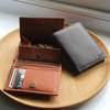 Multi-function mens croco bifold wallet with coin section