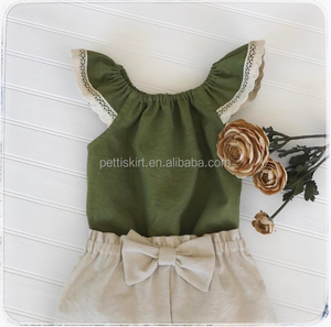 Summer Kids Outfit Boutique Girls Sleeveless Clothing Set