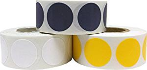 "Round Color Coding Craft Decoration Dot Stickers - Navy Blue Yellow and White - 1,500 Total 0.75"" Inch Round Adhesive Labels"