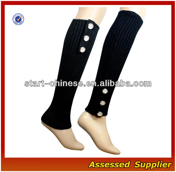 Women Boot Socks/ Wholesale Women's Wool Knitted Knee High Leg Warmer With Fashion ButtonsQH-L04