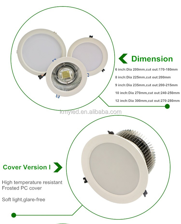 "High power 30w -150w 5"" 6"" 8 inch 10 inch LED Recessed Down Lighting Fixture"