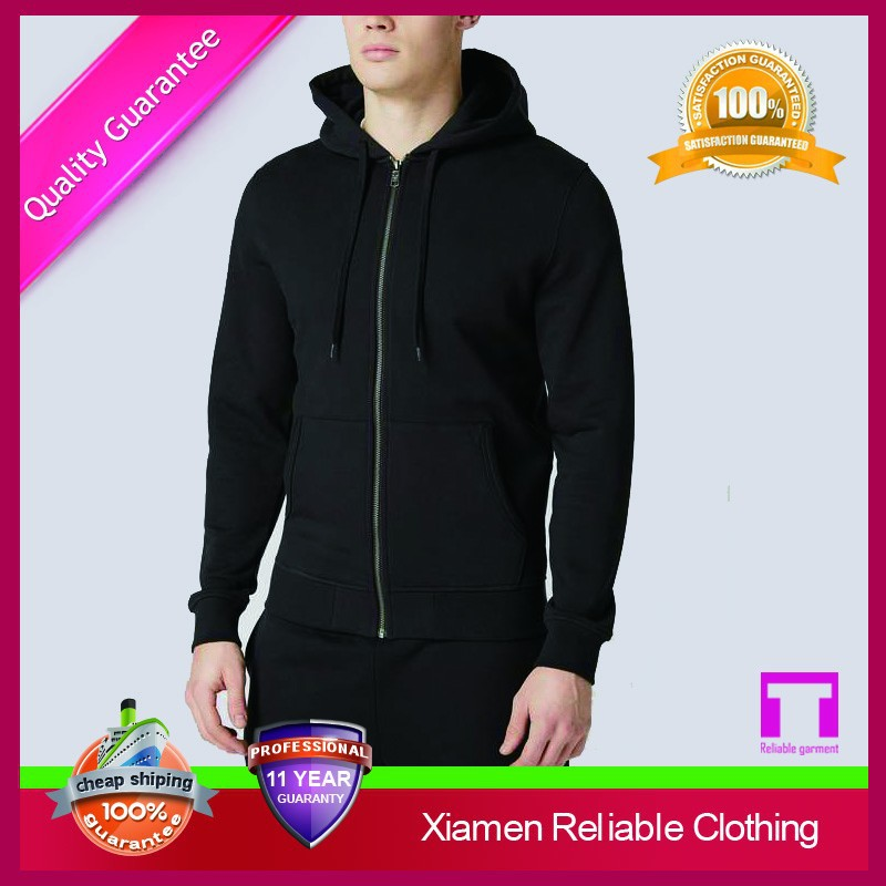 2015 Wholesale black gym hoodies cheap zip up hoodies for men
