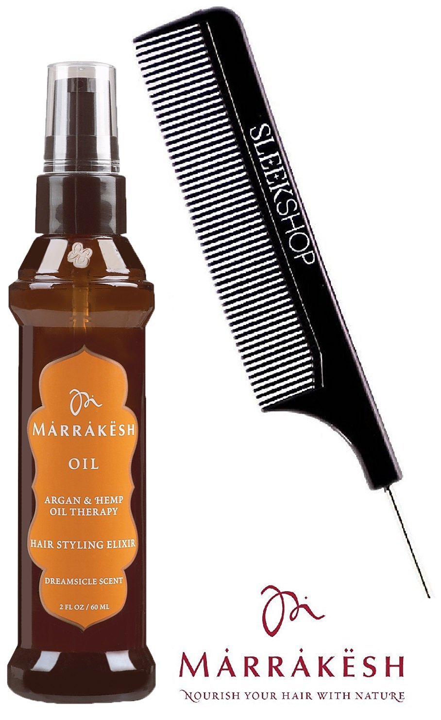 Earthly Body MARRAKESH OIL Hair Styling Elixir with Argan & Hemp Oil Therapy, DREAMSICLE SCENT (with Sleek Steel Pin Tail Comb) (Original, Dreamsicle - 2 oz / 60 ml)
