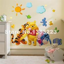 Cartoon Animals Pooh wall decals home decoration DIY vinyl wall stickers for kids rooms boys girls home decor child sticker