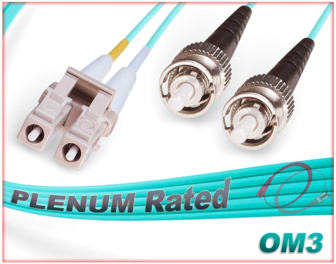 OM3 LC ST Plenum Duplex Fiber Patch Cable 10G Multimode 50/125 - 20 Meter