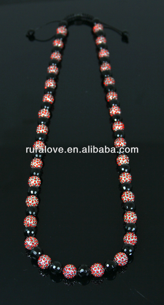Long style adjustable shamballa rhinestone Necklace