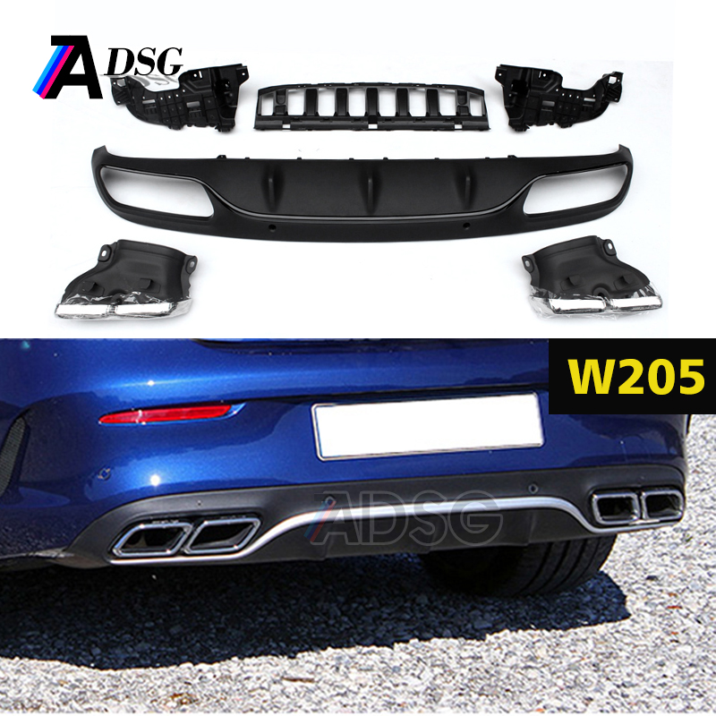 Mercedes C class W205 Coupe C63 Look ABS rear bumper diffuser gloss black rear lip with exhaust tips 2015 +
