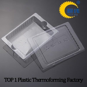 Clear disposable plastic tray with lid for stationery