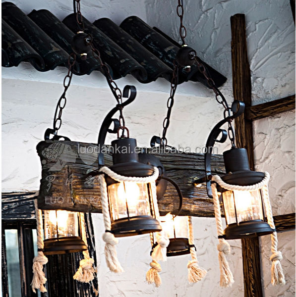 Decorative iron and resin 4 lamps pendant oil lamp