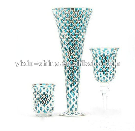 Handmade Blue Mirrored Mosaic Crystal Vases Wholesale Buy Vases