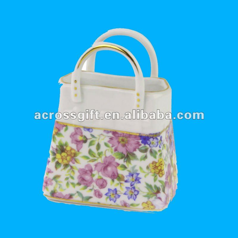 Fashional decal handbag ceramic gift and craft