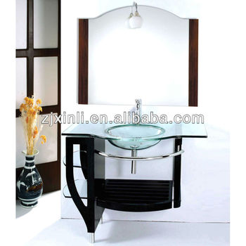High quality tempered glass bathroom countertop basin clean color glass with plywood holder for Tempered glass bathroom countertop