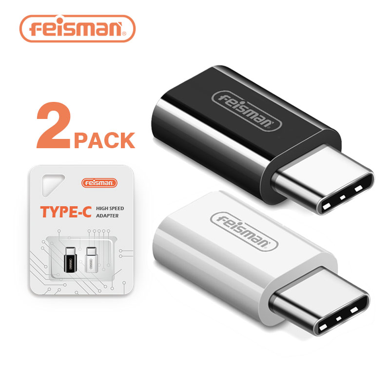 USB Type C Adapter, 2 Pack Feisman Micro USB to USB 3.1 Type C Male Convert Connector for Galaxy S9 Plus MacBook ChromeBook