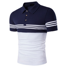 Men's short-sleeved polo t shirts printing two colors cotton polo shirt custom