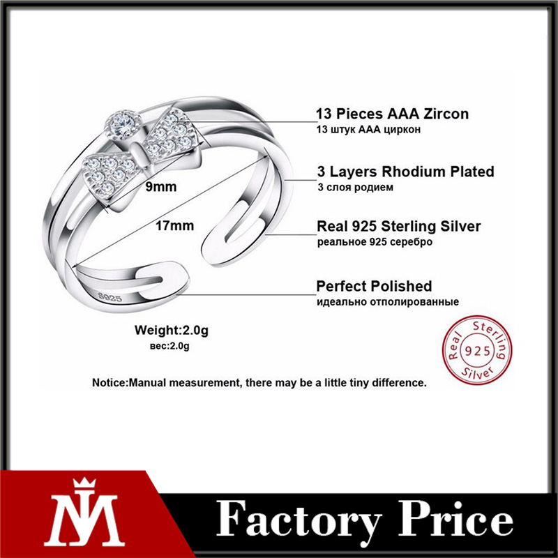 Luxury Cubic Zircon Bow Design Sterling Silver 925 resliable Rings Finger Fashion CZ Women Jewelry Adjustable