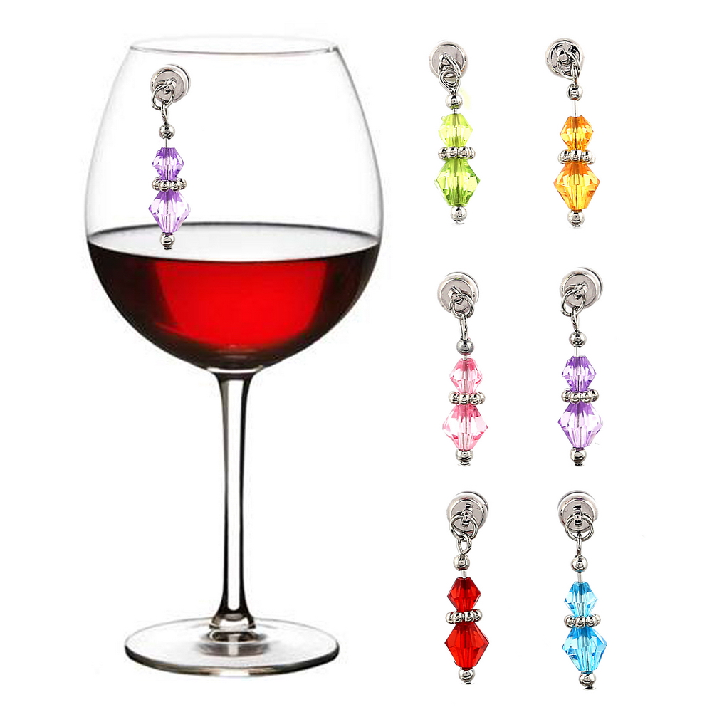WM-10610A Colorful Crystal <strong>Wine</strong> Glass Charms Magnetic <strong>Wine</strong> Charm <strong>Wine</strong> Glass Tags Plastic Drink Marker For Home Gifts
