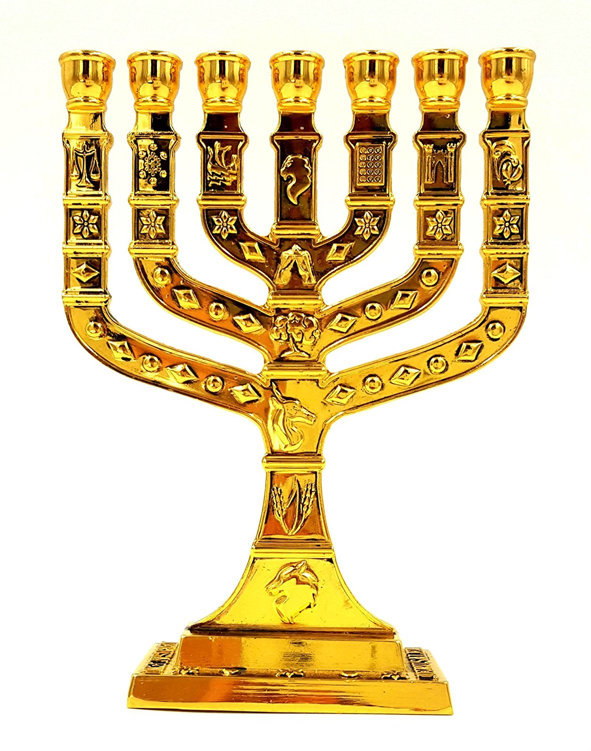 Cheap jewish candle menorah find jewish candle menorah deals on get quotations 12 tribes of israel jewish 7 branch gold temple menorah candle holder 5 inch tall biocorpaavc Image collections