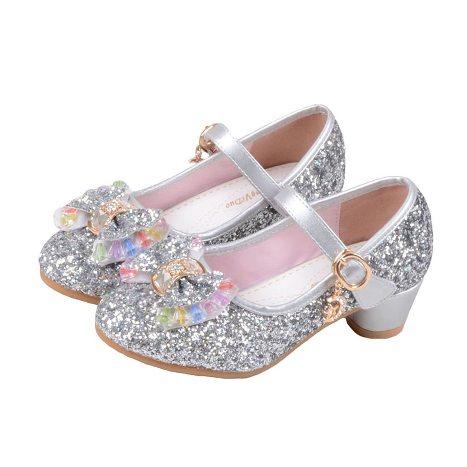 c162431a23e Get Quotations · Raylans Girls Glitter Sandals Mary Jane Shoes Glitter Low  Heels Princess Cosplay Dress Shoes