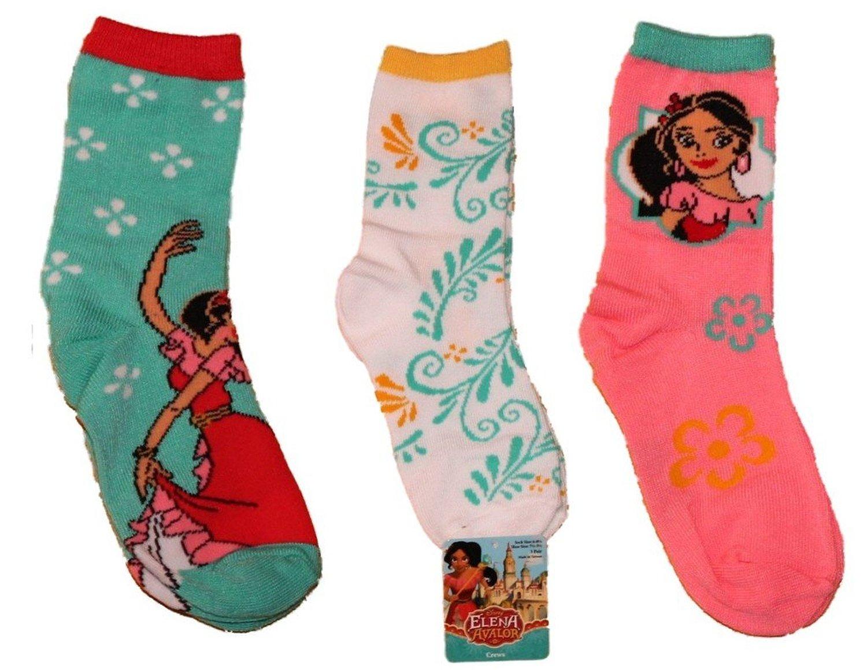 Disney Elena of Avalor 3pk Girls Crew Socks sz 6-8.5
