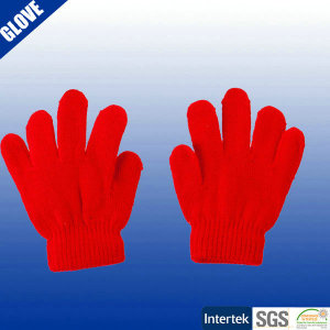 Red baby acrylic knitting gloves mittens