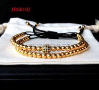 Gold plated 925 Sterling silver diamond ball Macrame men and women bracelet