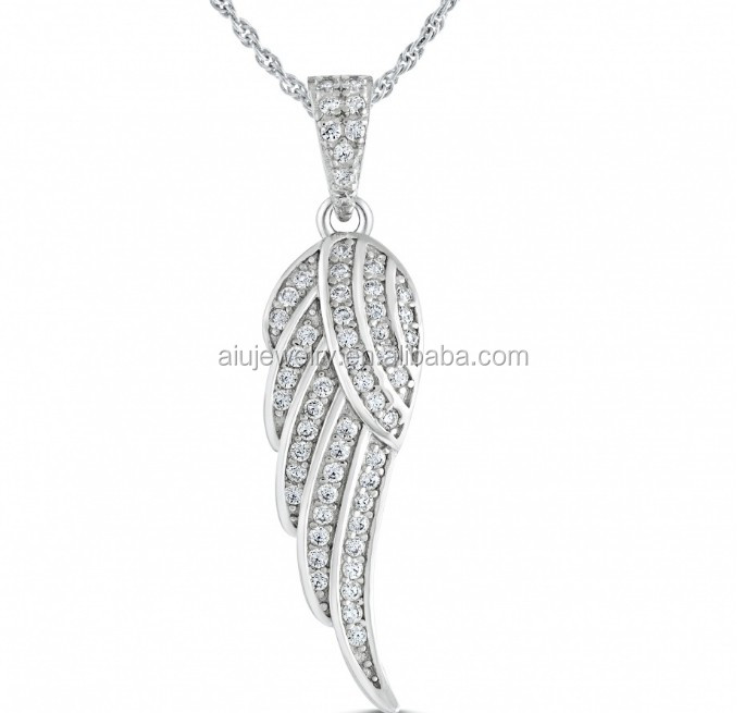 925 sterling silver 3A CZ angel wing necklace