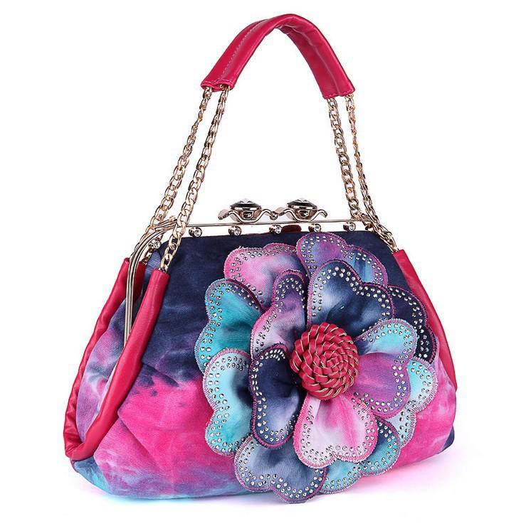 Get Quotations · Freeshipping New women s fashion colorfull flower denim bag  with bling Rhinestone jeans handbag denim shoulder bag cfd984a814fec