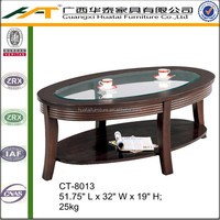 Coffee Table with Round Glass Top and Shelf | Oval coffee table