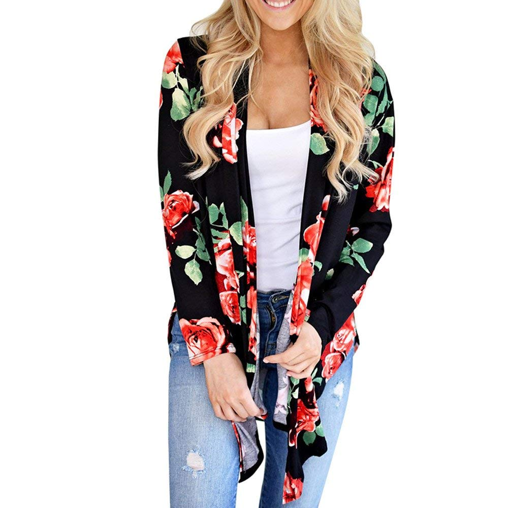 WuyiMC Womens Kimono Cardigans, Ladies Floral Chiffon Blouse Boho Irregular Wrap Kimono Cardigans Casual Coverup Tops