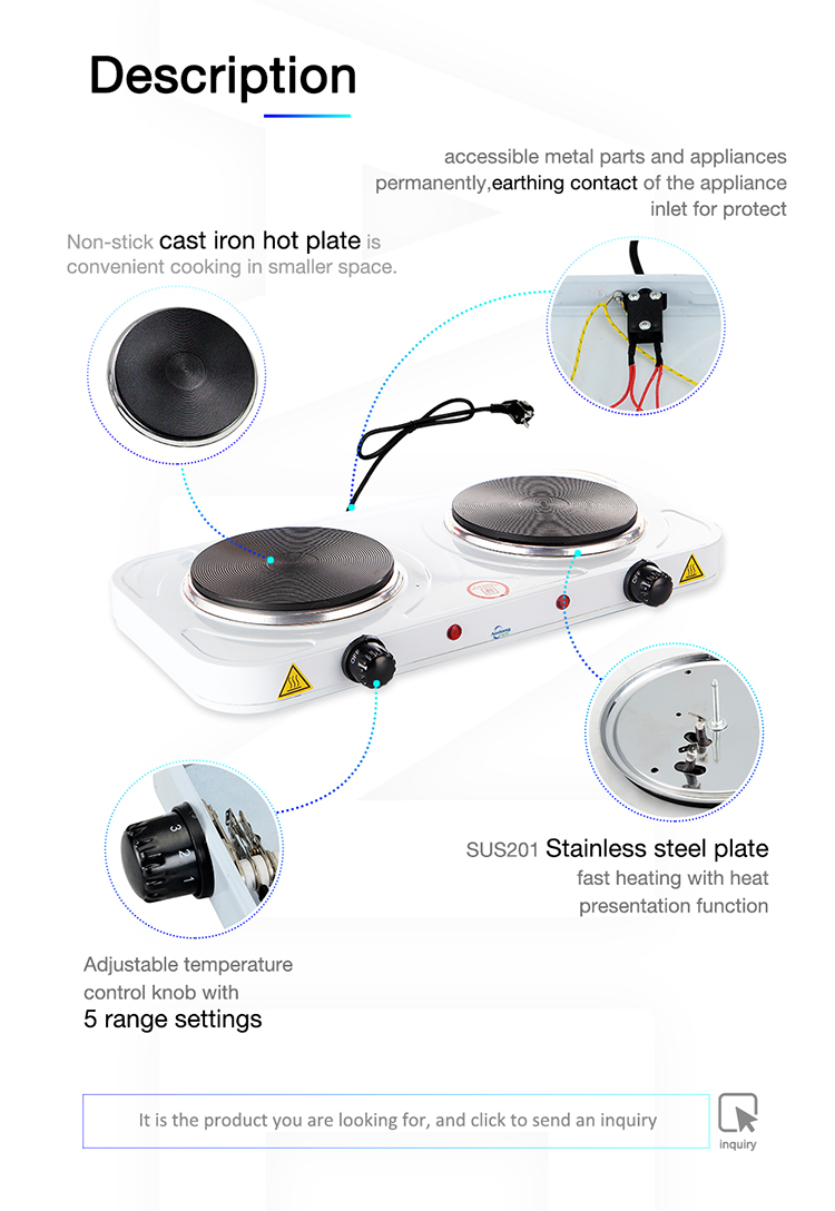 Factory price electric hot plate 2000W cooking hot plate double burner