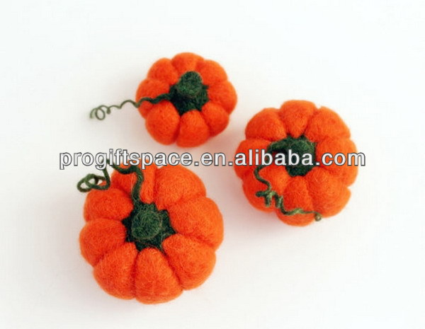Best selling new products orange felted autumn pumpkin for thanksgiving harvest Halloween home decorations made in china