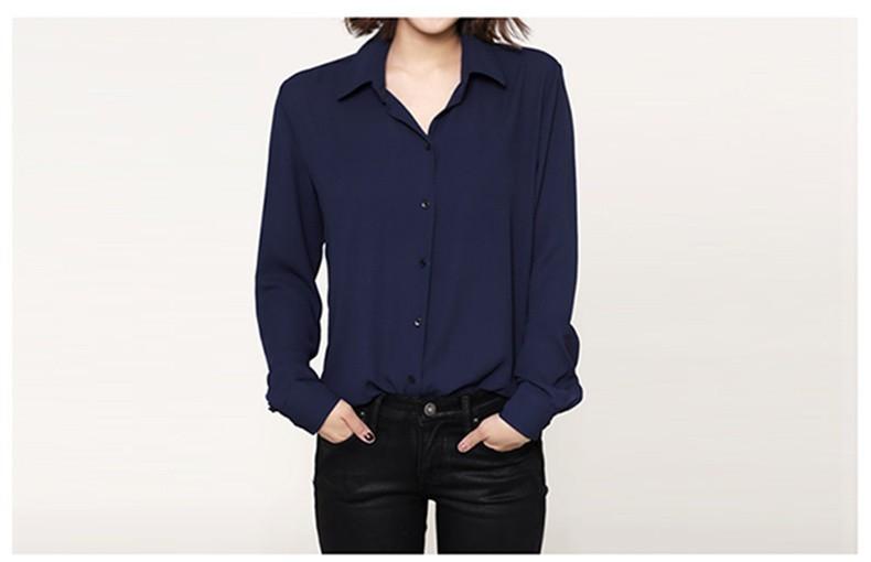 נשים שרוול ארוך חולצות שיפון חולצות 2015 אישה בגדי נשים מזדמנים החולצה הנשית מקסימום Blusas Camisas Femininas בתוספת גודל