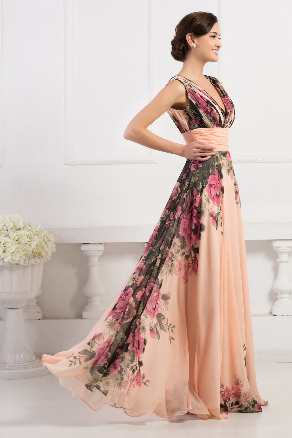 f4e412e719 Grace Karin Stock Sleeveless Flower Pattern Floral Print Chiffon Evening  Dress Party Gown Long Prom Dresses