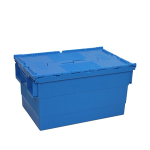 66L PP Round trip totes plastic storage crate with hinged lid box