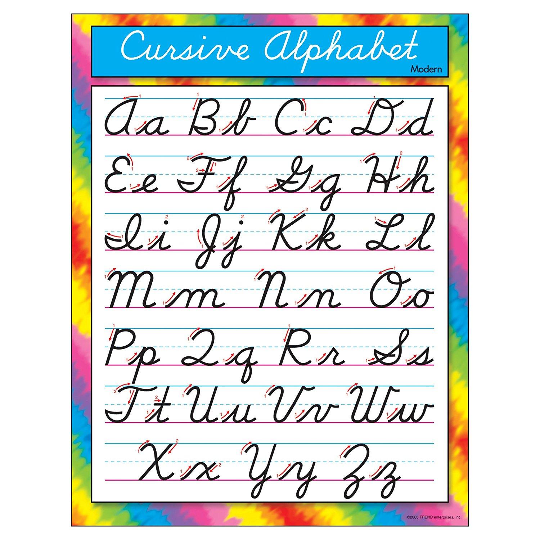 "TREND enterprises, Inc. Cursive Alphabet Modern Learning Chart, 17"" x 22"""