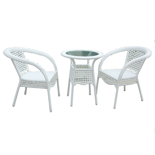 Hexagonal Set de table 2 places Used Cafe Poly Rattan Furniture Restaurant