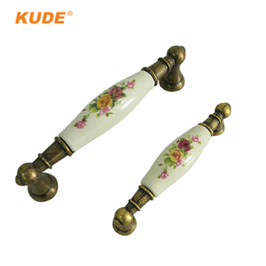 KUDE Antique Gold Brass Flower Drawer Pull Handles for Dressers