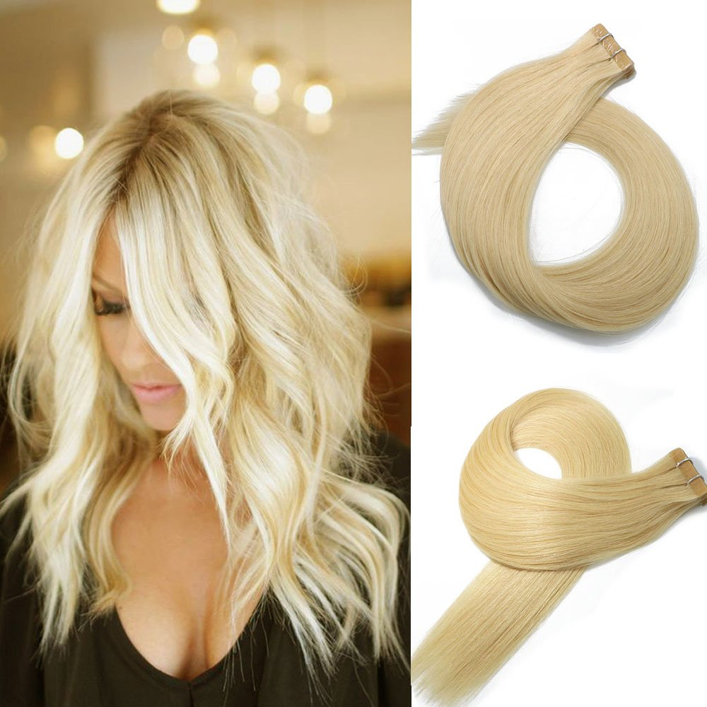 Get Quotations Vario Tape In Hair Extensions Human 20pcs 50g Set Platinum Blonde 9a Brazilian Remy