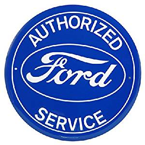 Authorized Ford Service Round Tin Sign  12/""