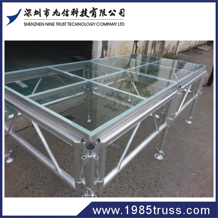 indoor & outdoor aluminum plastic stage / mobile stage glass blocks